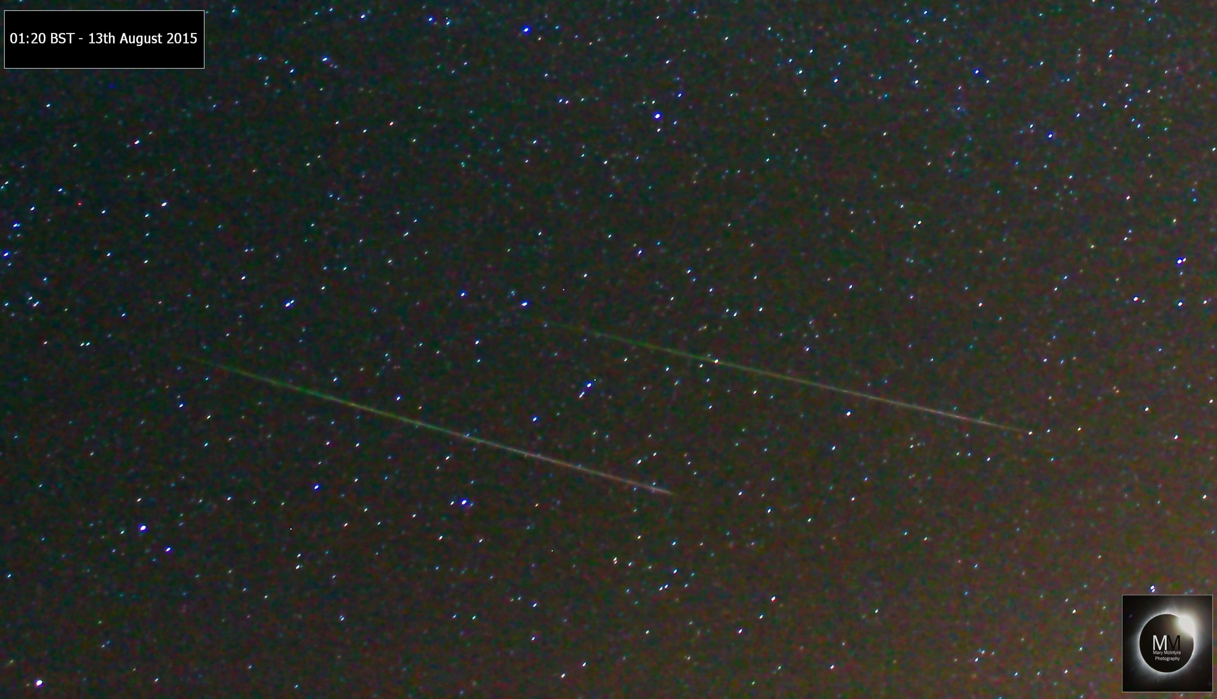 Then two come along at once! Two Perseid meteors, 01:20BST 13th August 2015 from Oxfordshire by Mary McIntyre