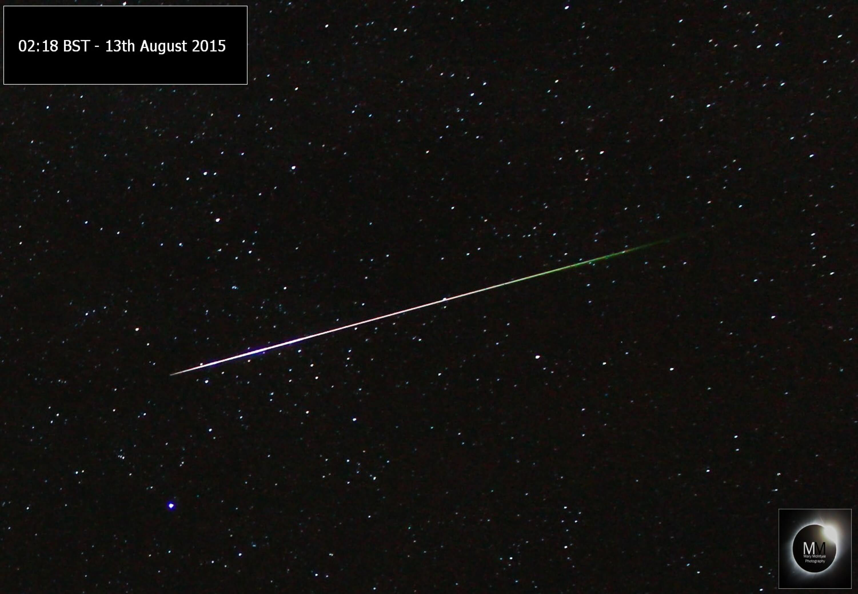 Perseid Meteor 02:18BST 13th August 2015 by Mary McIntyre