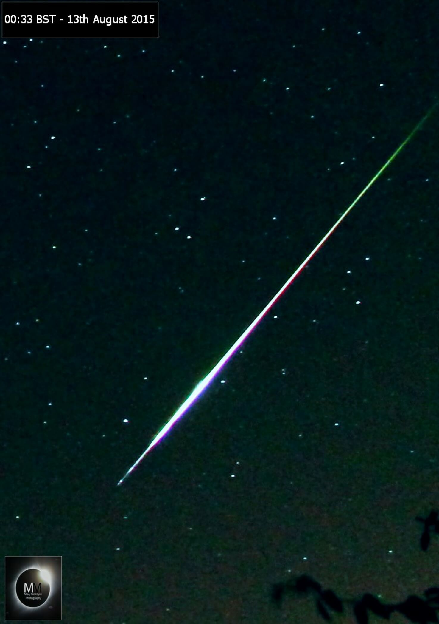Perseid Fireball from Oxfordshire, 00:33BST 13th August 2015 by Mary McIntyre