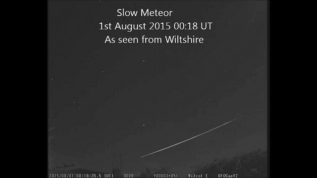 Unusually slow meteor 1st August 2015