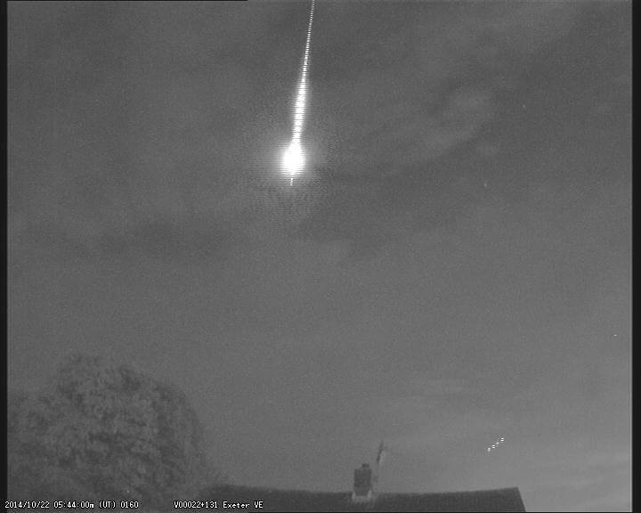 Fireball from 22 October 2014 Exeter Observatory cameraw